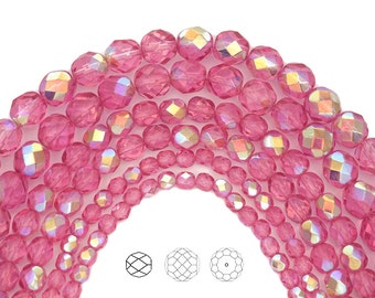 Crystal Pink Rose AB coated, Czech Glass Fire Polished Round Faceted Beads, 16 inch strands, in 4mm, 6mm and 8mm size, Aurore Borealis