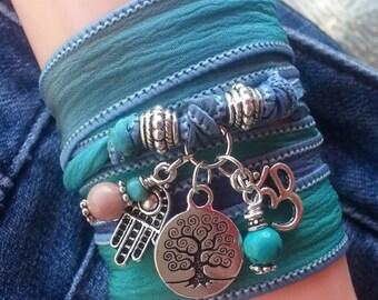 Tree of Life Om Hamsa Silk Wrap Bracelet; Spiritual Yoga Jewelry,Item: WRP-1A