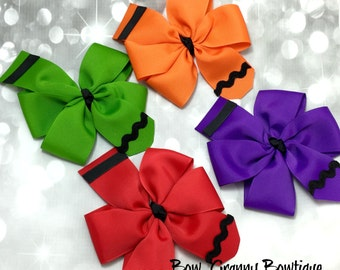 Crayon Bow, Back to School Bow, School Bow, School Hair Bow, Crayon Hair Bow, Pinwheel Bow, Pinwheel Hair Bow, Crayon Pinwheels