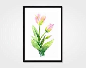 Watercolor tulips digital print / 11 x 8,5