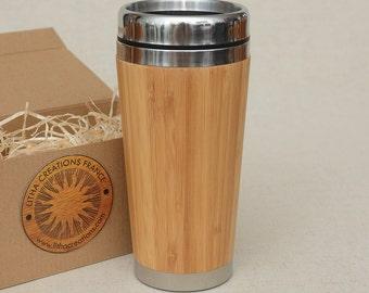 Personnalisé ou Uni bois voyage tasse voiture Bureau café thé tasse en acier inoxydable caoutchouc en bambou avec couvercle en plastique monté
