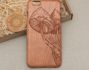 Psychedelic Style Custom Design 'Under Mushroom' Natural Cherry Wood Phone Case HTC One M9 M10 LG G4 G5 Sony Xperia Z2 Z3/Z3 Compact