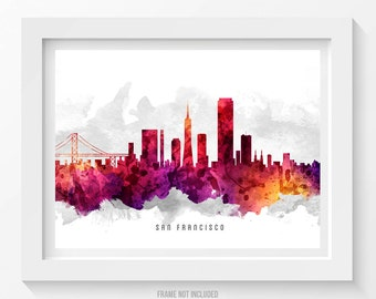 San Francisco California Skyline Poster, San Francisco Cityscape, San Francisco Print, San Francisco Decor, Home Decor, Gift Idea 14