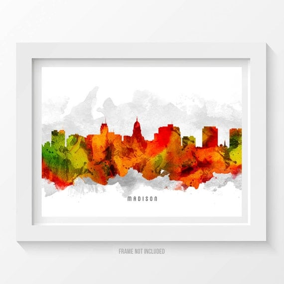 Madison Wisconsin Skyline Poster Madison Cityscape Madison