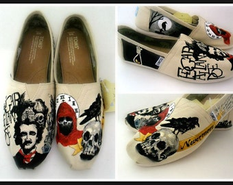 Edgar Allan Poe Custom TOMS, Hand Painted Poe Shoes, The Raven Shoes, Poetry Painted Shoes,  Wearable art, Hand Painted TOMS, Painted TOMS