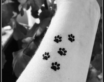 Tiny paw prints set of 5 temporary tattoos fake tattoos animal tattoos