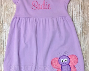 Personalized Girl's Lavender Ruffle Dress with Butterfly Applique, Toddler Girls Spring Dress, Summer Dress Girls, Butterfly Birthday Dress