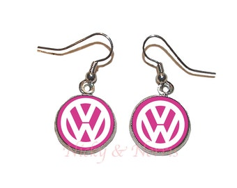 Pink and White VW Earrings - Made to Order
