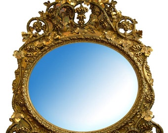 6791 Antique French Rococo Gilt Wood 19th century Oval Mirror/ Over Mantel Mirror