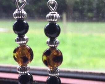 Czech Bead and Tibetan silver pumpkin bead Earrings