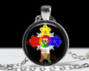Rosicrucian cross pendant, pentagram,  occult pendant, ritual necklace, magic talisman, esoteric jewelry, ceremonial magick, amulet #147