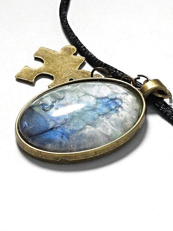 autism necklace autism jewelry autism pendant puzzle