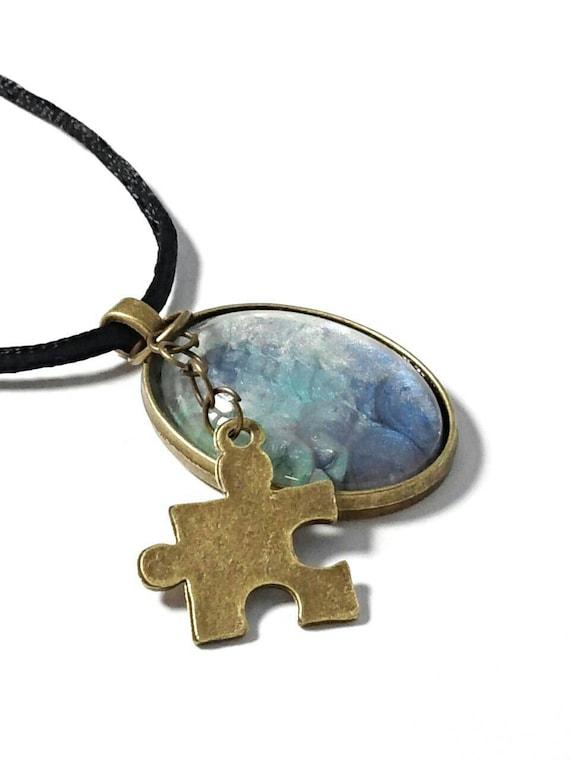 autism necklace autism jewelry autism pendant puzzle by