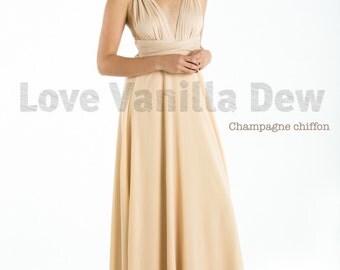 Bridesmaid Dress Infinity Dress Champagne with Chiffon Overlay Floor Length Maxi Wrap Convertible Dress Wedding Dress