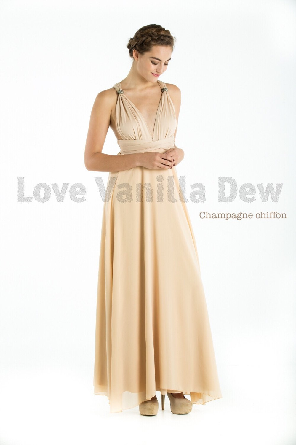 Bridesmaid dress infinity dress champagne with chiffon overlay zoom ombrellifo Choice Image