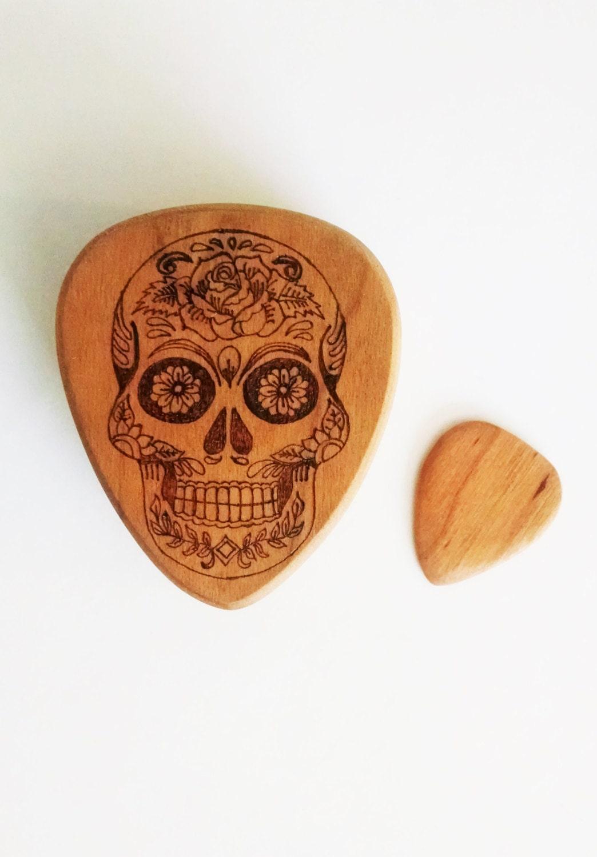 sugar skull personalized guitar pick box and pickcustom wood. Black Bedroom Furniture Sets. Home Design Ideas