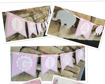 ELEPHANT BANNER,its a girl baby shower banner,pink and gray banner, baby shower party decor