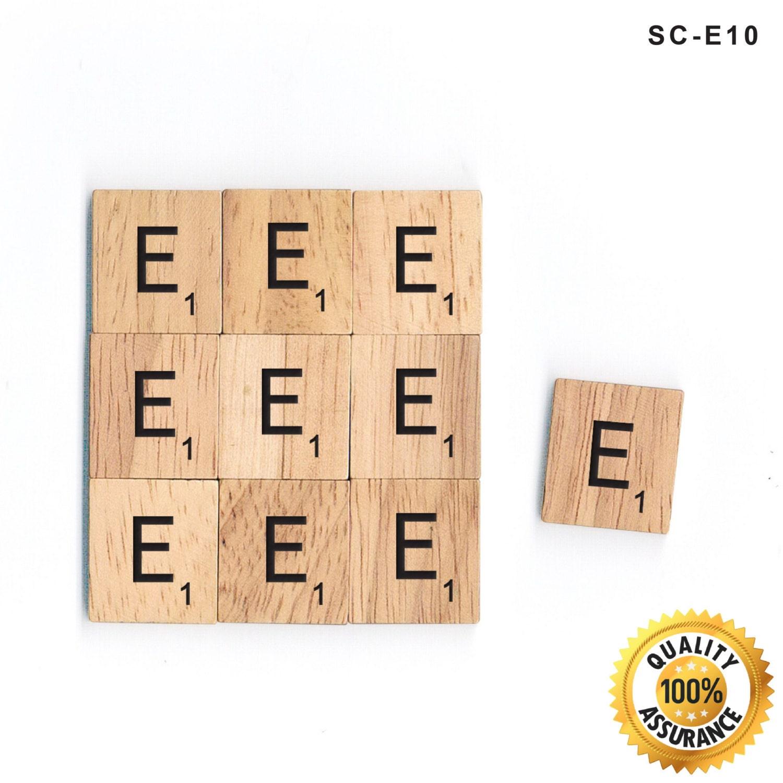 10 E Wooden Scrabble Tiles E Letters Set Black By BSIRIBIZ