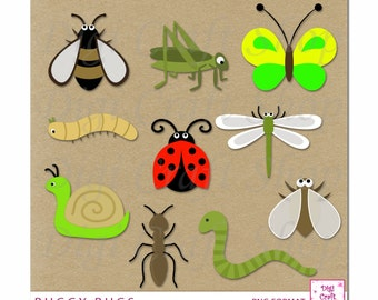 Digital Bugs Clipart. Butterfly, caterpillar, worm, ladybug, worm, snail, dragonfly, fly and insects. Instant Download