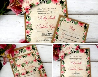 Personalised Floral Vintage Wedding Invitations With RSVP Card & Brown Kraft Envelopes