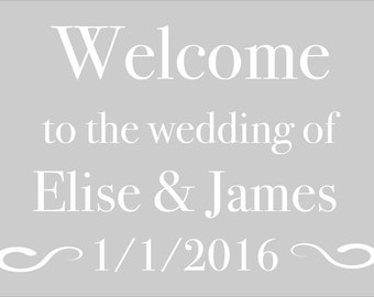 Wedding Signs Wedding Stencil - Welcome to the wedding of in Reuasble Mylar