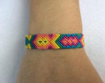 Brightly-Colored Rainbow Arrowhead Friendship Bracelet