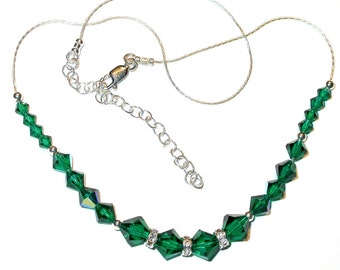 Emerald GREEN Crystal Necklace Swarovski Elements Sterling Silver
