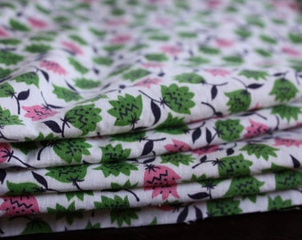 1960s cotton fabric, pink & green floral print