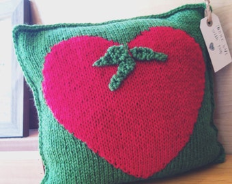 Hand Knit Tomato Heart Pillow