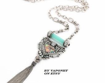 Tassel Necklace - Long Chain Tassel Necklace - Vintage Necklace - Bohemian Necklace - Rhinestone  Necklace - Fringe Necklace - Boho Necklace