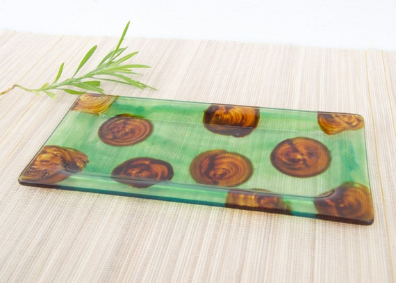 Glass polka dots plate, serving dish, serving tray - Starters, sushi, cookies - Transparent green with ochre polka dots - Ready To Ship