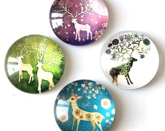 12pcs 25mm Assorted Christmas Reindeer Cabochon.Photo Glass Deer Cabochon Wholesale.Craft Beads for Jewelry/ Accessory/Scrapbook Making