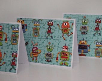 Robot Note Card Set.  6 Blank Robot Cards.  Stationery Gift Set.   Robot Thank You Cards.  Robot Stationery.  Robot Greeting Cards.