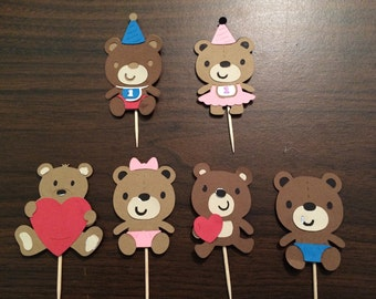 24 Teddy Bear Picnic Party Cupcake Toppers