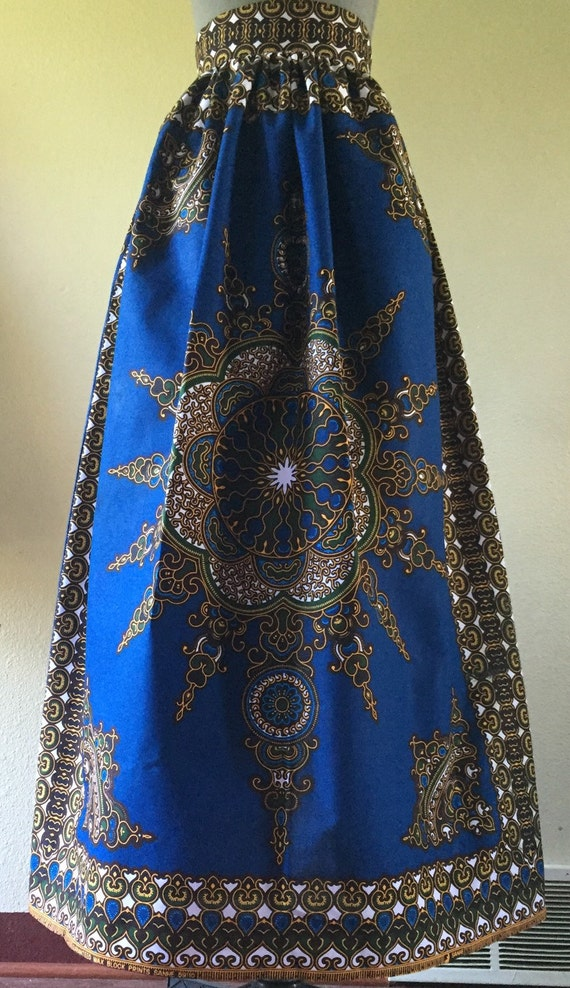 Beautiful African Wax Print High Waisted Maxi Skirt Fit And