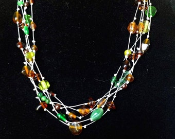 Forrest Multistrand Necklace in Greens and Browns