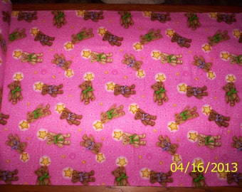 New Pink with Tossed Bears and Stars flannel fabric by the yard and half-yard