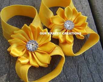 Yellow Baby Sandals, Baby Girl Sandals, Girl Sandals, Baby Foot Wear, Photo Shoot Prop