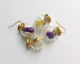 Dried flower glass orb earrings