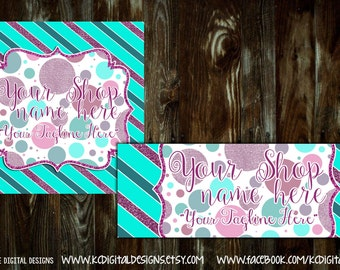 """Premade Mini Facebook Set - """"Bold and Sparkly"""", Purple/Teal Glitter - includes Profile Image and Timeline Cover"""