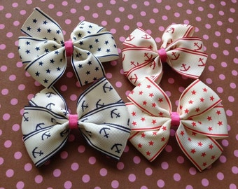 hair bows with anchor and stars red and blue
