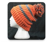 Knit Hat, Gray and Orange Striped Knit Winter Hat with Pompom, Men's Knit Hat, Women's Knit Hat, Mens Hat, Womens Hat, (KH57)