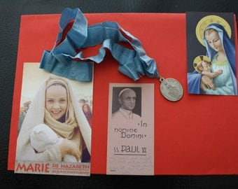 French Virgin Vierge Marie,Mary,Maria religious Silver medal blue ribbon of neck->+3 icon pictures pious chromo Catholic Christian religion