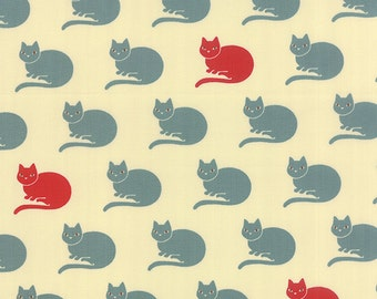 Neco Fabric, Lucky Neco Cat Fabric in Sky Blue and Ivory, Japanese Fabric from MoMo for Moda Fabrics.