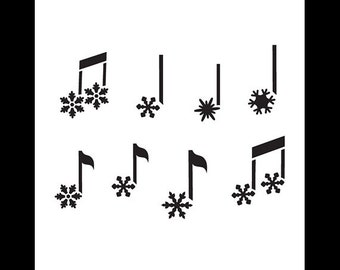 "Snowflake Music Notes Art Stencil - 6"" x 6"" - SKU:STCL867_1"
