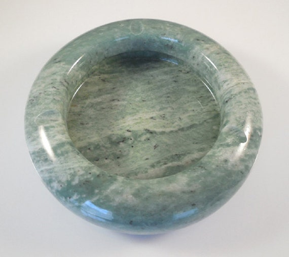 Round Green Marble : B marble mint green white onyx stone ashtray by