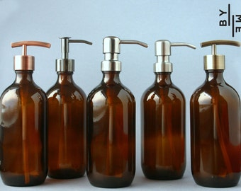 Amber glass bottle soap dispenser with metal pump