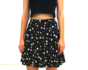 90's Black High Waisted Floral Mini Skirt