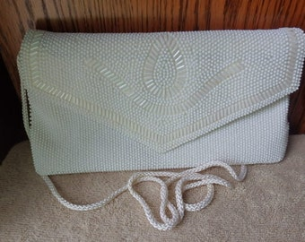 Vintage White Beaded Purse clutch Vintage Beaded Wedding purse with long corded handle..Vintage pocketbook Vintage Women Accessories