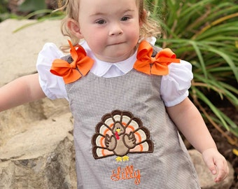 GirlsTurkey Dress, Thanksgiving Dress,Brown Gingham Dress,Applique Embroidered Dress